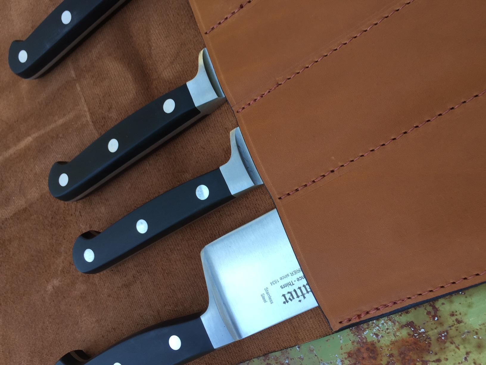 knives knives case leather brown storage. Black Bedroom Furniture Sets. Home Design Ideas